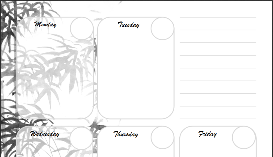 Free Printable: Ink-Painting Themed Day Planner