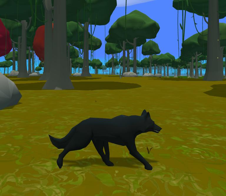 grey wolf running