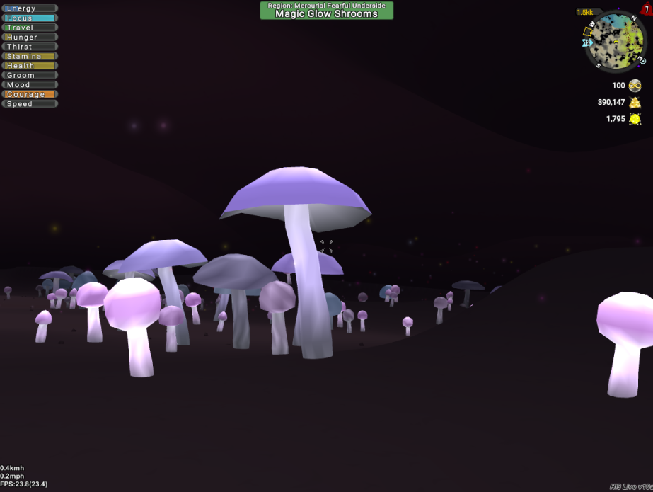 Cave with glowing mushrooms